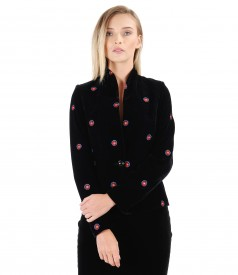 Embroidery velvet jacket