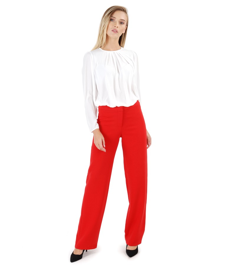 Blouse with folds on decolletage and straight pants