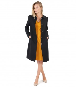 Jacket with round collar and elastic jersey blouse