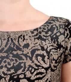 Rochie din catifea imprimata cu motive aurii
