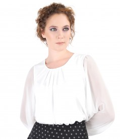 Veil blouse with puffed sleeves