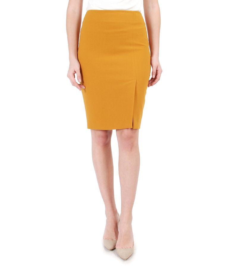 Office skirt made of elastic fabric with front slit
