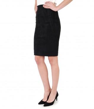 Tapered skirt with velvet look