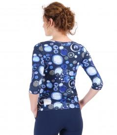 Printed elastic cotton blouse