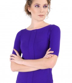 Elastic jersey blouse with fold and crystals trim