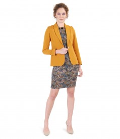 Office outfit with textured fabric jacket and printed jersey dress