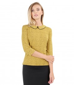 Printed elastic jersey blouse with collar