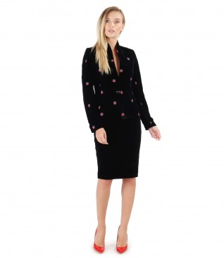 Embroidered velvet jacket with velvet tapered skirt