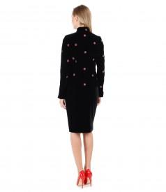 Embroidered velvet jacket with velvet tapered skirt