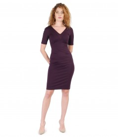 Elastic jersey dress with V decolletage