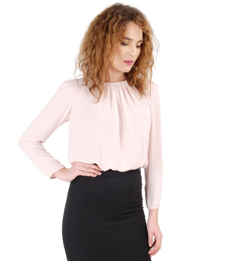 Blouse with folds on decolletage embellished with crystals