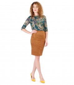 Fabric skirt with velvet look and printed jersey blouse