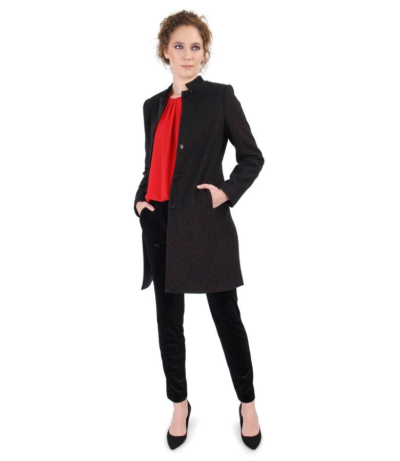 Wool jacket and elastic velvet pants