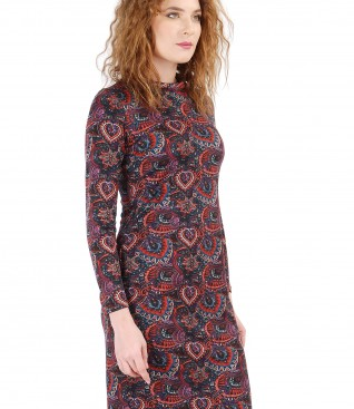 Dress with long sleeves made of elastic jersey