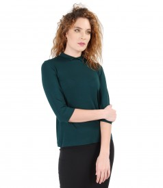 Elastic jersey blouse with collar