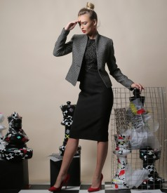 Elegant outfit with brocate elastic jersey dress and jacket made of loops and cotton