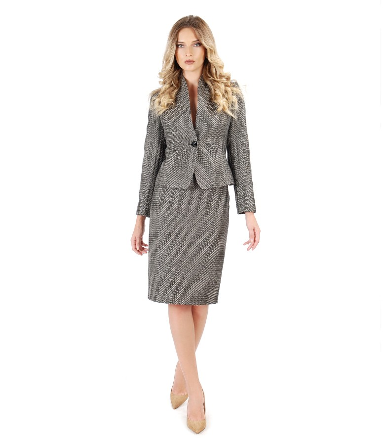Office woman suit with jacket and skirt made of multicolor loops with cotton