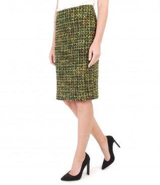 Elegant skirt made of multicolor loops with wool