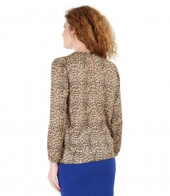 Blouse with animal print and folds on decolletage embellished with crystals