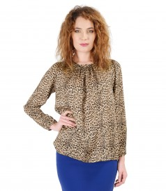 Blouse with animal print and folds on decolletage embellished with crystals from Swarovski<sup style=font-size:0.5em></sup>