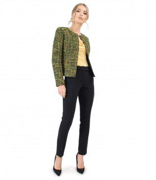 Jacket made of multicolor loops with elastic jersey pants