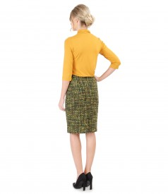 Elegant outfit with multi-color loop skirt and uni jersey blouse