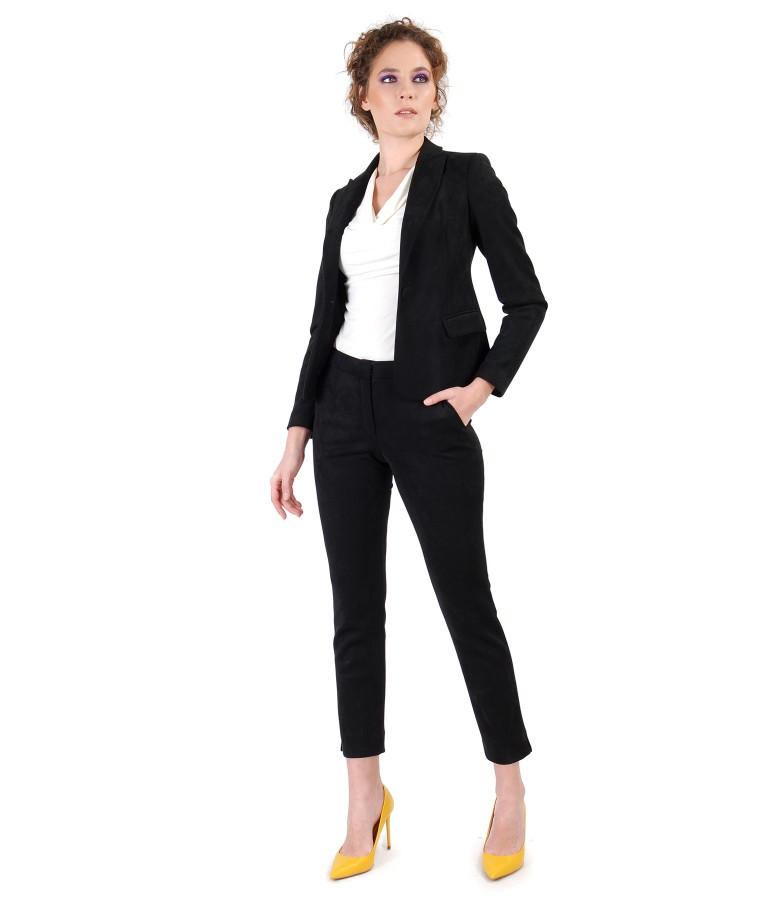 Office woman suit with jacket and fabric pants with velvet look