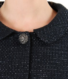 Cotton loop jacket with jewel button