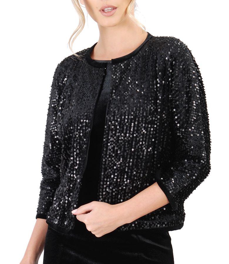 Black velvet with sequins bolero