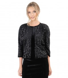 Black velvet with sequins bolero