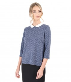 Elastic jersey blouse with white collar