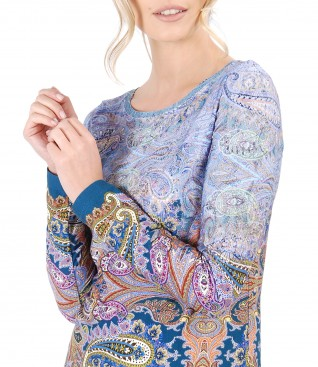 Elastic jersey blouse with long sleeves