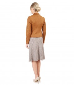 Semiclos skirt with belt and fabric jacket with velvet look