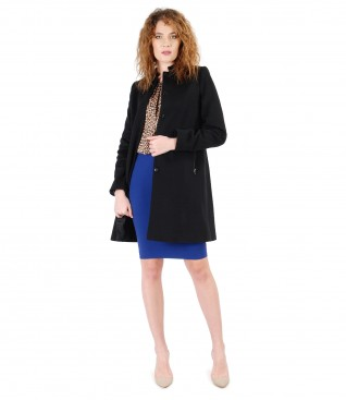Elegant outfit with wool and cashmere jacket and blouse with animal print