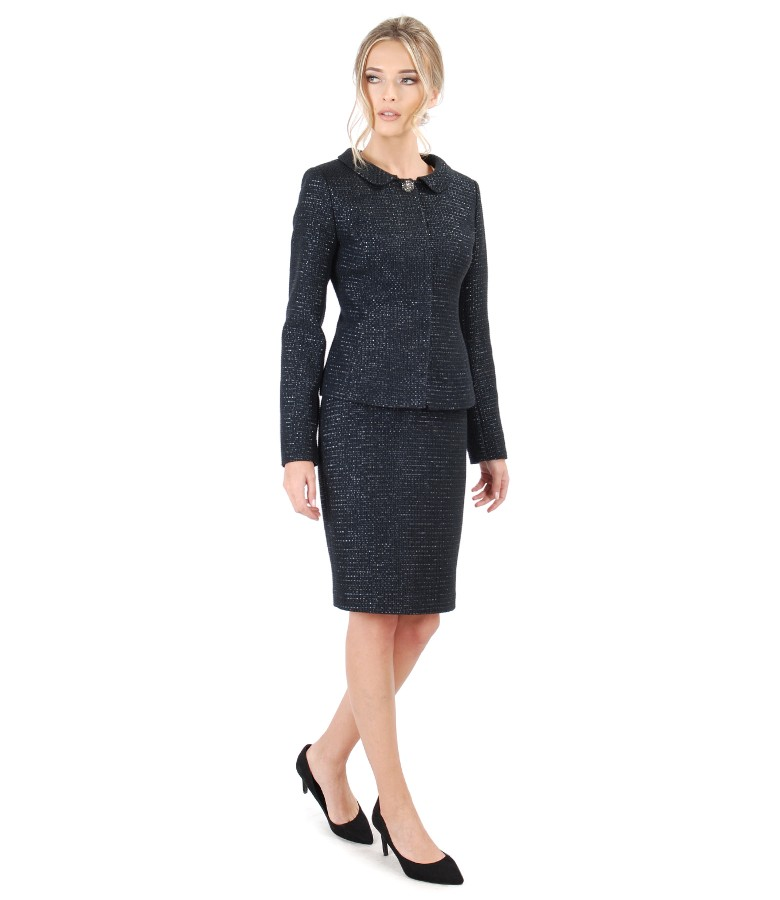 Office woman suit with skirt and cotton loop jacket