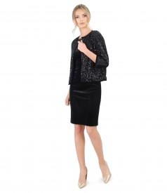 Black elastic velvet dress with sequins bolero