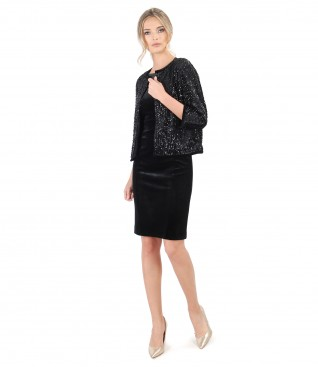 Black elastic velvet dress with sequins bolero
