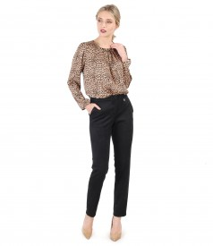 Blouse with animal print and velvet fabric pants