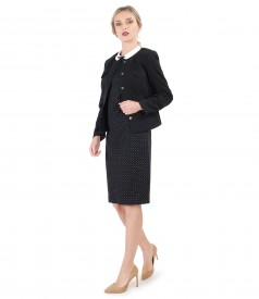 Office outfit with elastic fabric jacket and dress with round collar