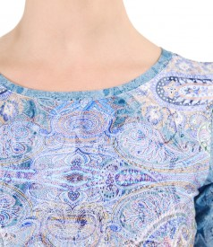 Bluza din jerse elastic cu maneci scurte