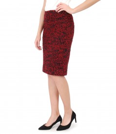 Elegant skirt made of multicolor loops with wool