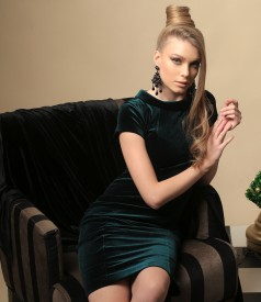 Elastic velvet dress with Swarovski crystals