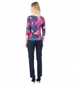 Jersey blouse with floral print and jersey pants