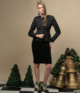 Elegant outfit with green velvet dress and brocade jacket
