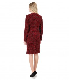 Office woman suit with skirt and wool loop jacket