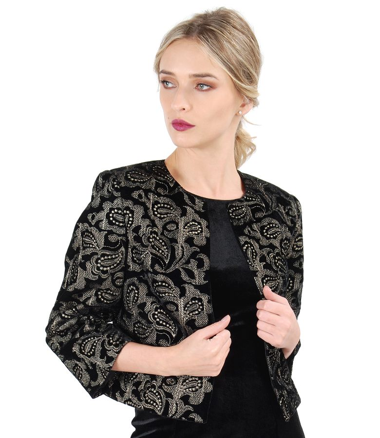 Elastic velvet bolero embroidered with golden thread