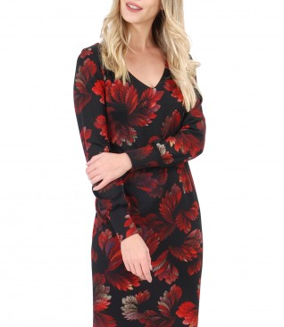 Dress with long sleeves with floral print