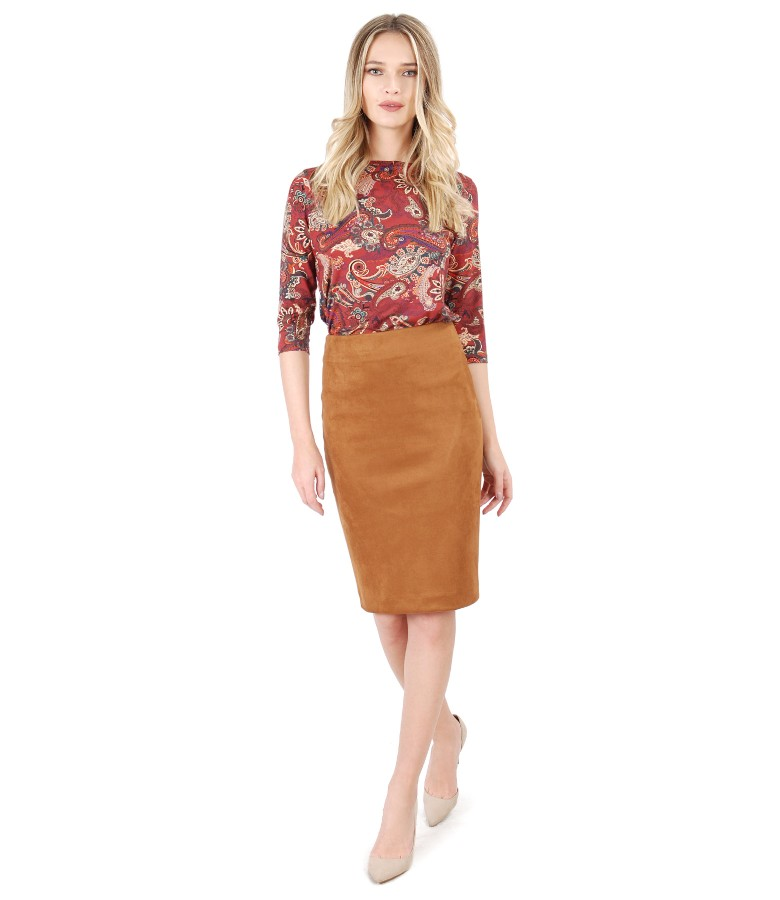 Printed elastic jersey blouse with fabric skirt and velvet look