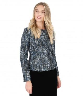Multicolor loop jacket with silver thread