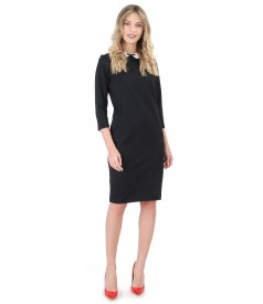 Dress with white collar and elastic jersey bow